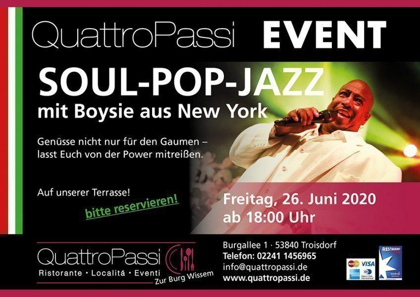 Special-Event, Freitag 26.06.2020, ab 18:00 Uhr: Boysie White - Soul-Pop-Jazz-Sänger aus New York